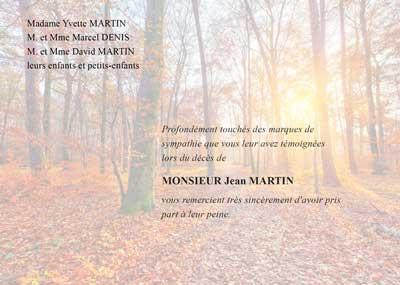 Carte de deuil Forêt en automne