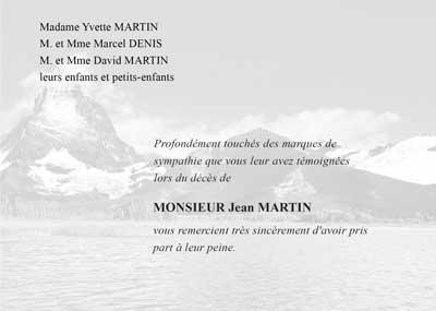 Carte de décès Lac et montagne