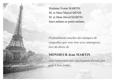 Carte de remerciement de décès Paris, la Tour Eiffel
